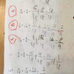 通分でつまづく。公文の算数124回(E教材 分数のたし算の3)